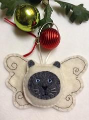 Cute Kitty Angel Ornament - Siamese