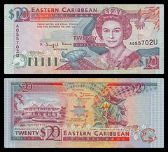 (XCD5b) 1993  Eastern Caribbean States, Anguilla, Eastern Caribbean Central Bank, Twenty  Dollars (A/R)...