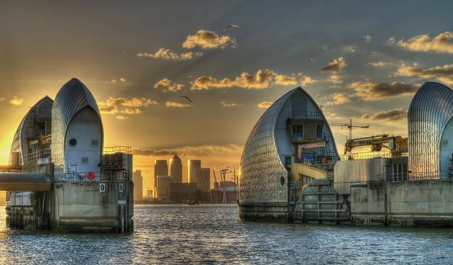 Thames Barrier at dusk.