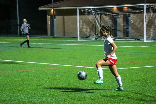 <p>Megan Garcia preparing to push the ball up field.</p>
