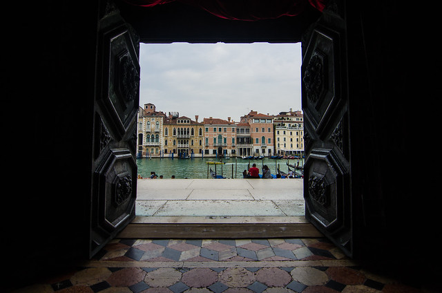 Looking out onto the Grand Canal from San Salute Church in Venice, Italy.