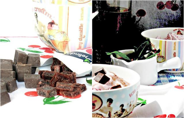 Coppa Spagnola con salsa di Amarene e Gocce di Cioccolato alla Menta