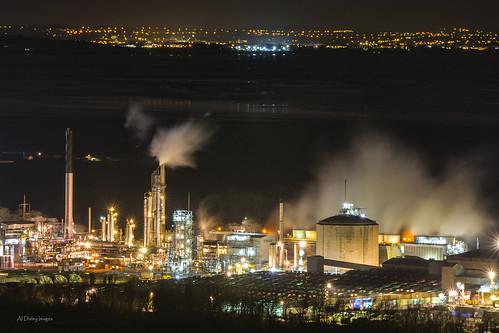 longexposure night factory nightlights cheshire steam vista industriallandscape rivermersey southliverpool helsbyhill haltonborough