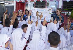 Sailors participate in a Pacific Partnership 2016 community health promotion and education program.