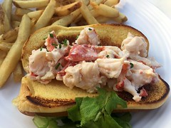 The lobster roll and fries at Red's Lobster P…