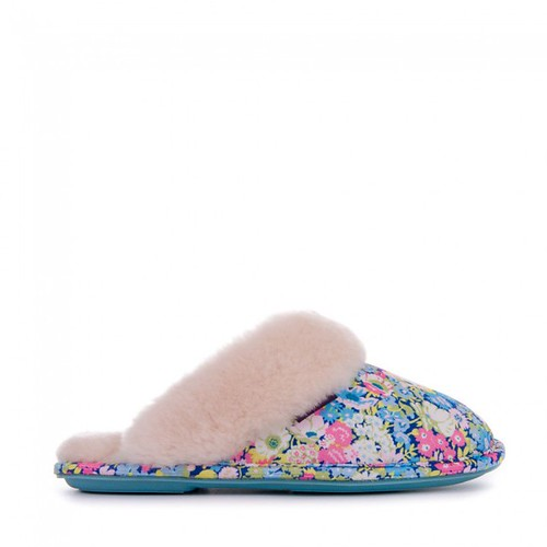 Violet - Liberty Art Fabric Mule Slippers - Baby Blue / Rose Pink Ditsy Floral