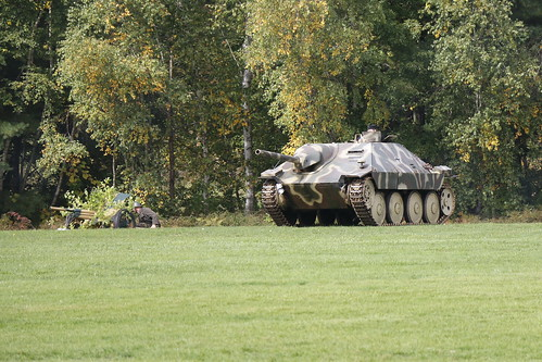 German Jagdpanzer 38 Tank Destroyer on the attack