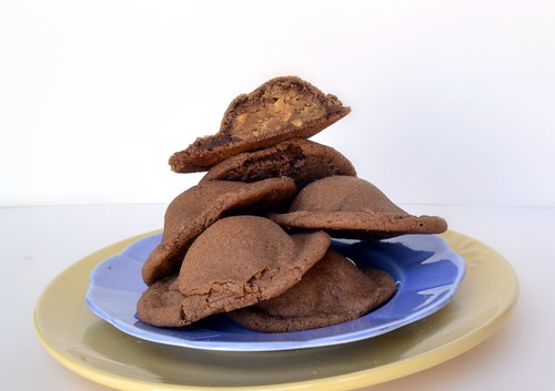 chocolate cookies filled with crunchy peanut butter