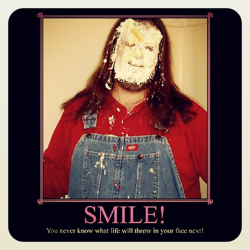 Pie in the face: Motivationally speaking, of course. #overalls #Dickies #pieintheface