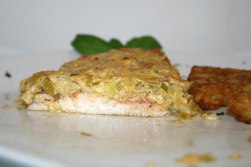 38 - Lauch-Fischkäse-Schnitzel - Querschnitt / Leek cream cheese schnitzel - cross section