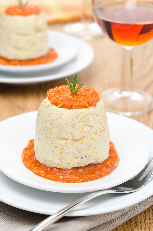 mousse of chicken with pepper sauce