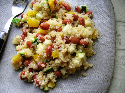 quinoa salad with red beans, zucchini, and yellow bell pepper