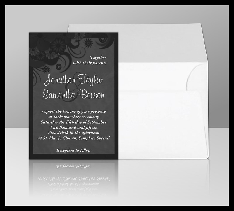Gothic Black Floral Wedding Invitation Suite