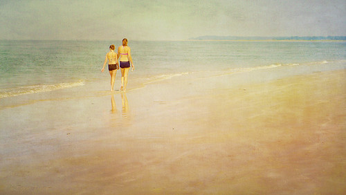 Sisters Walking on the Beach