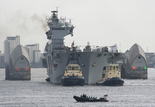 HMS Ocean passing through the Thames Barrier