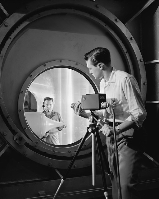 Technician setting up RCA Television Camera