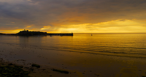 sunset sun man beach clouds nikon peel isle fenella