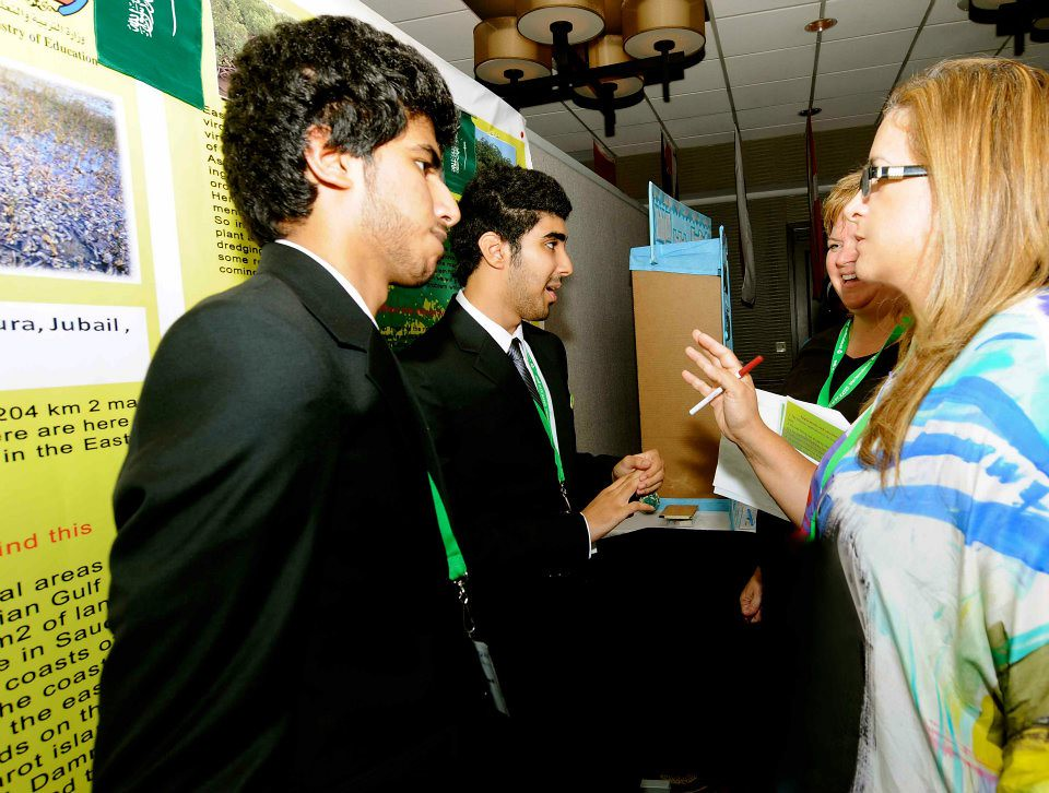 Students from Saudi Arabia present their research