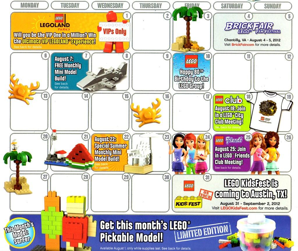 LEGO Store Calendar AUGUST 2012