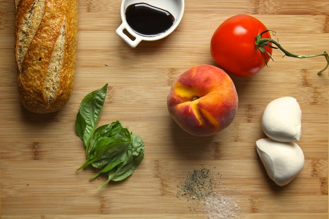 Peach Tomato and Mozzarella Crostini | Joy the Baker