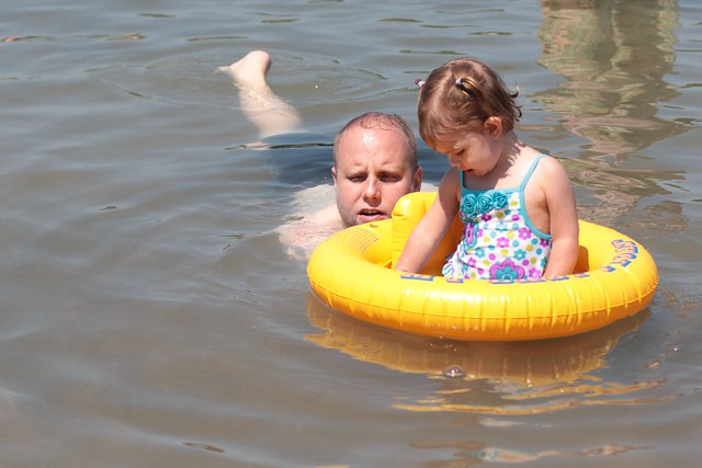 Dennis and Makenna at the swim pond