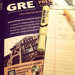 July 25, 2012 - signed up for the GRE and read some of my book! I even used a hi lighter! #smartiepants #gradschool