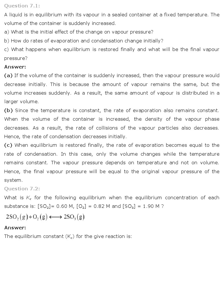ncert solutions for class th chemistry chapter equilibrium ncert solutions for class 11th chemistry chapter 7 equilibrium