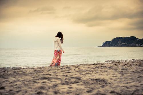 Yurie at Kamakura beach