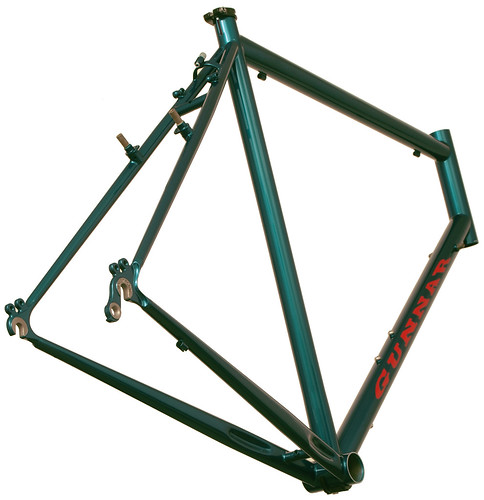 <p>Rear view of the Gunnar Grand Tour painted Teal with red decals.</p>