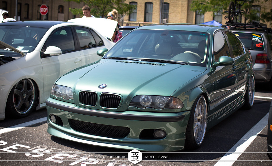 green bmw e46 4 door  euroworks 6 2012 3pc wheels static airride low slammed coilovers stance stanced hellaflush poke tuck negative postive camber fitment fitted tire stretch laid out hard parked seen on klutch republik