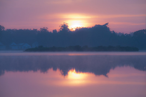 summer fog sunrise reflections haze day cloudy northreading martinspond