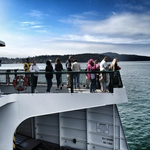 Bow Riders - Passengers face the salt spray on board @wsdot ferry. San Juan's, Wa