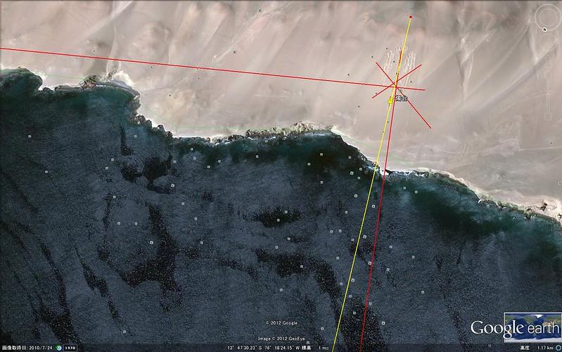 北極点から三叉の大燭台へ結んだ線3