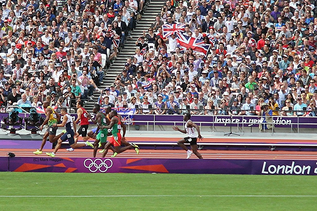 The 100m qualifying heats at the London 2012 Olympics