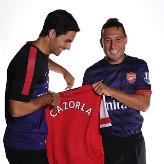 New Arsenal signing Santi Cazorla with Mikel Arteta