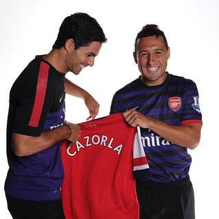 New Arsenal signing Santi Cazorla with Mikel Arteta