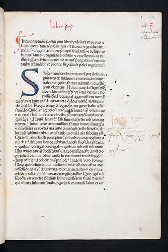 Penwork initial and marginal annotations in Rodericus Zamorensis: Speculum vitae humanae