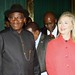 President Goodluck Jonathan with SecState Hillary Clinton at the Presidential Villa, Abuja Aug 9_Embassy photo by Idika Onyukwu
