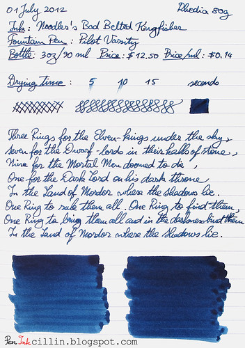 Noodler's Bad Belted Kingfisher Rhodia