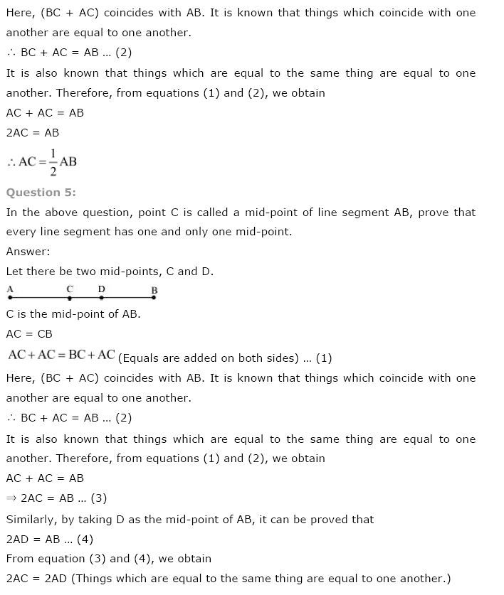 NCERT Solutions For Class 9 Maths Chapter 5 Introduction to Euclid's