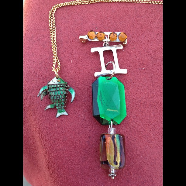 My newest creations- a fishy necklace and a Gemini brooch