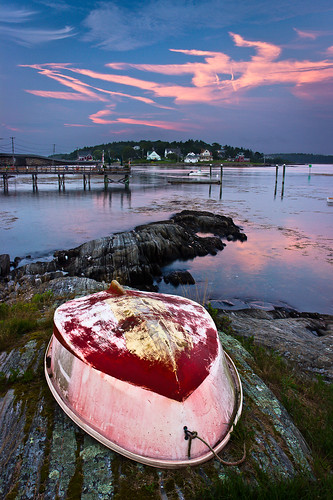 ocean summer seascape reflection me water clouds canon landscape islands coast boat twilight scenery view maine newengland rocky shore polarizer dinghy baileyisland harpswell orrsisland rebelt2i willsgut baileyislandmotel