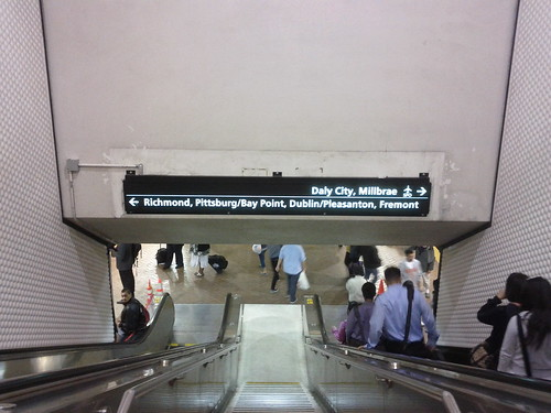 Platform name signs above Powell BART stairs
