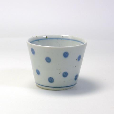 砥部焼 中田窯「蕎麦猪口/水玉(小)」