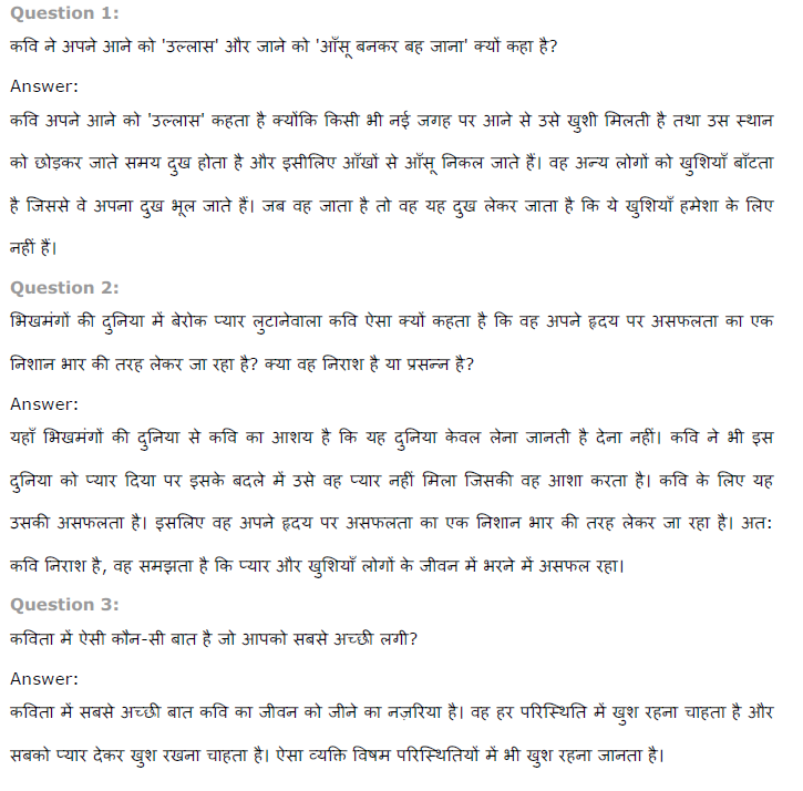 NCERT Solutions for Class 8 Hindi Chapter 4 दीवानों