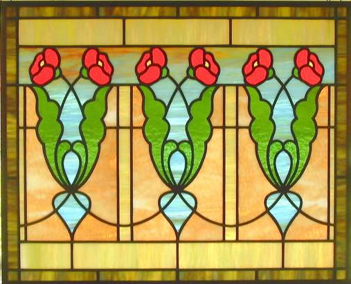 Arts and crafts poppy stained glass window flickr photo sharing
