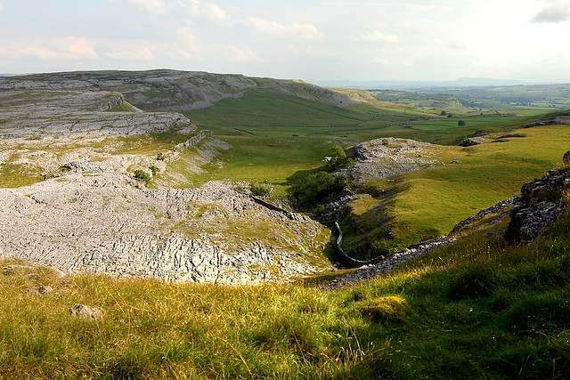 A photo of the geologically interesting limestone valley to the south of Ingleborough in the Yorkshire Dales