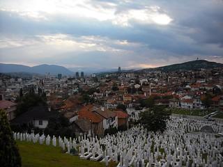 Sarajevo viewed from Kovači cemetery