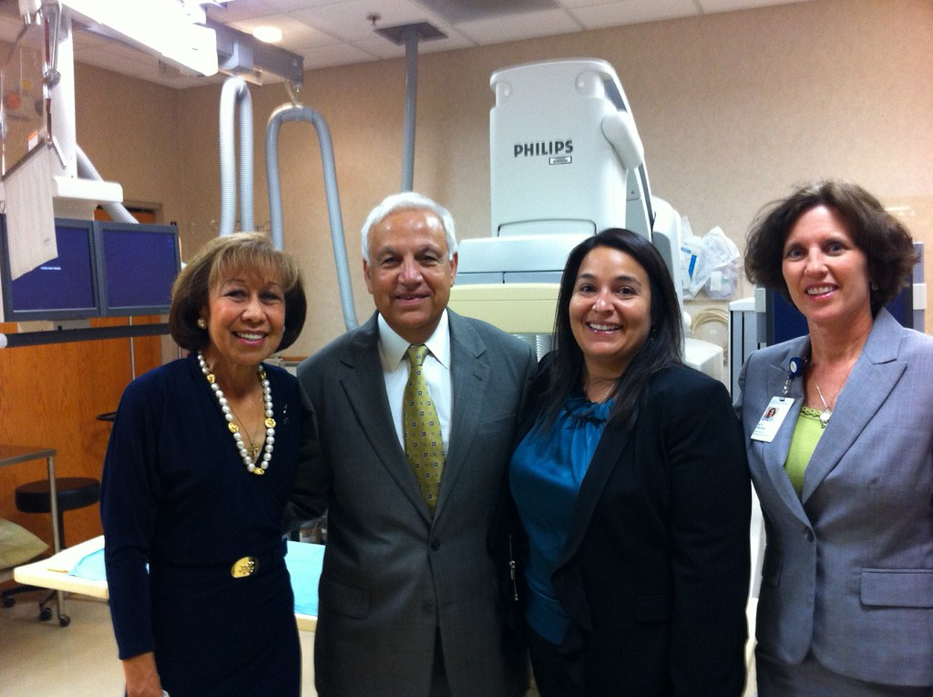 Pictures here are; Mayor Elizabeth B. Kautz, Philips Corporation Chairman Zia Eftekhar, Community Development Director Jenni Faulkner and Fairview Ridges President Beth Krehbiel. Picture taken in front of one of the Philips equipment used at the hospital