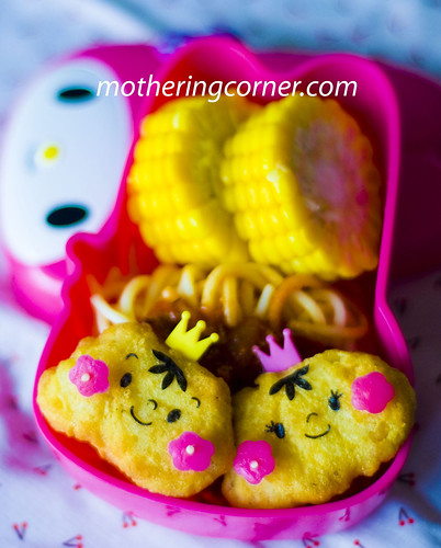 Prince and princess nuggets with spaghetti bento copy